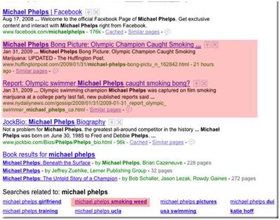 Michael Phelps, Googlen