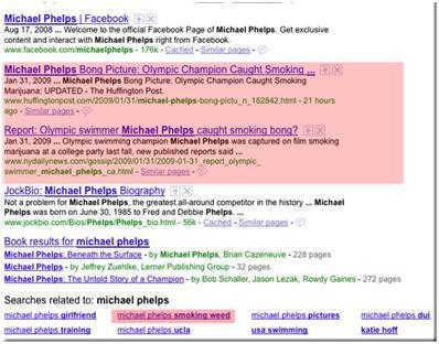 Michael Phelps, Googlen